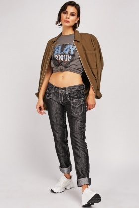 Crinkled Stitched Trim Jeans