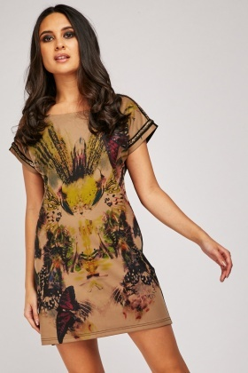 Butterfly Print Front Shift Dress With Gold Brocade Trim