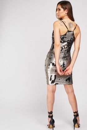 Dual Sided Sequin Slip-On Dress