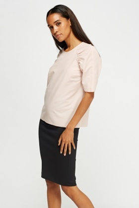 Ruched Sleeve Light Pink Top