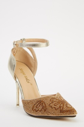 Court Encrusted Ankle Strap Heels