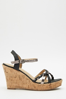 Metallic Trim Cork Wedge