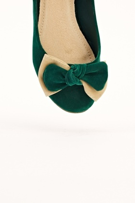 Two Coloured Bows & Back Velour Flats
