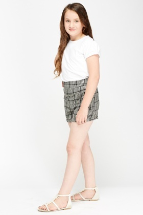 Houndstooth Print Girls Shorts