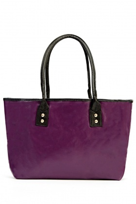 Contrasted Handle Faux Leather Shopper Bag