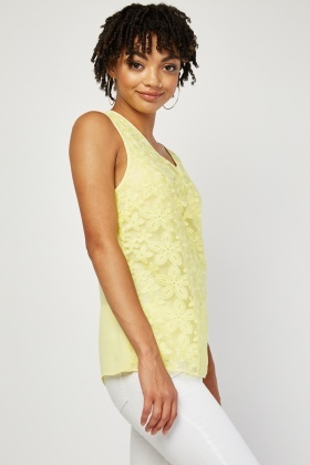Embroidered Organza Front Top