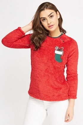 Red Fluffy Christmas Jumper