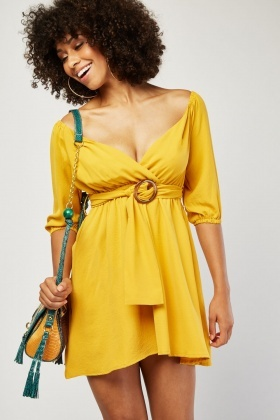 O-Ring Belted Swing Dress