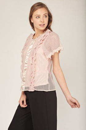 Mesh Contrast Casual Top
