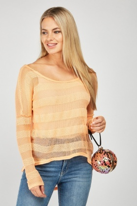 Sheer Knit Dipped Hem Pullover