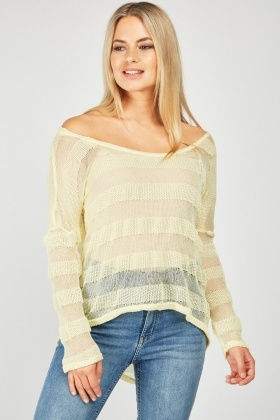Striped Knit Yellow Pullover