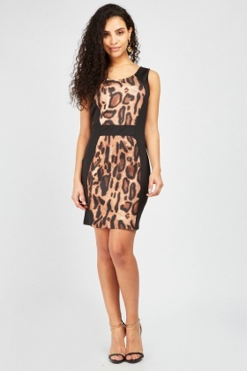 Leopard Print Panel Bodycon Dress