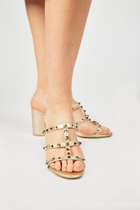 Studded Slip On Heeled Sandals
