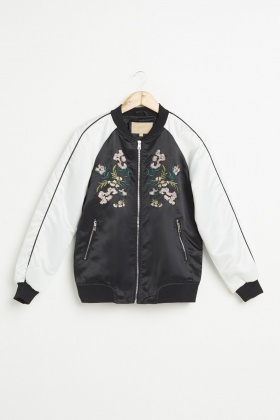 Embroidered Colour Block Bomber Jacket