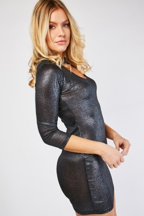 Metallic Ribbed Long Sleeve Dress