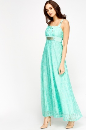 Lace Overlay Contrast Maxi Dress