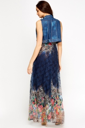 Denim Bolero Maxi Dress