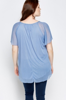 Blue Flare Sheer Top