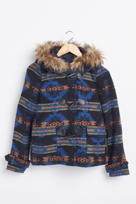 Tribal Aztec Pattern Hooded Jacket