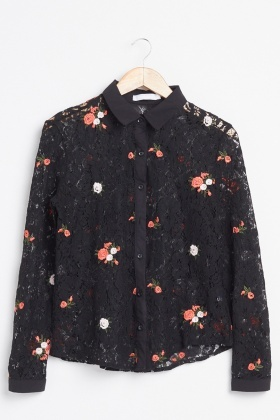 Embroidered Flower Lace Shirt