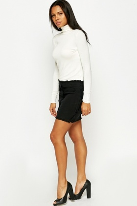 Textured Zip Detail Mini Skirt