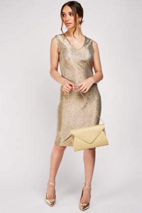 Textured Shiny Gold Bodycon Dress