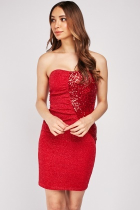 Sequin Metallic Contrasted Strapless Dress