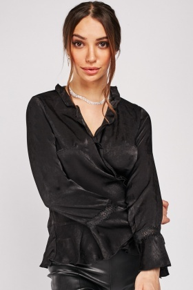 Wrapped Frilled Silky Blouse