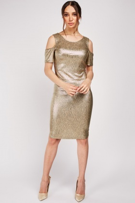 Metallic Cold Shoulder Bodycon Dress