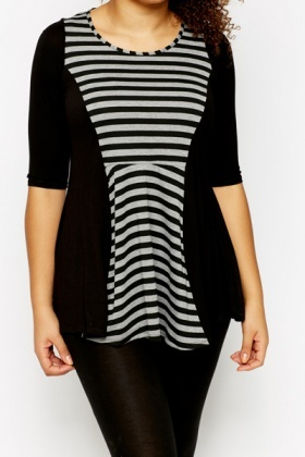 Stripe Panel Skater Top
