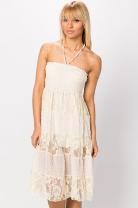 Lace Panel Halterneck Dress