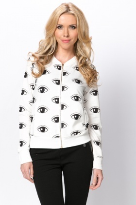 Eye Print Zip Front Jacket