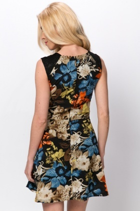 Lace Shoulder Floral A-Line Dress
