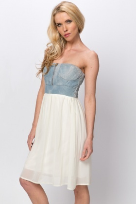 Denim & Chiffon Bandeau Dress