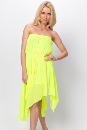 Asymmetric Hem Bandeau Dress
