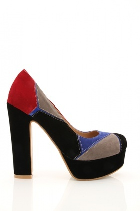 Multicolour Suedette Patchwork Shoes