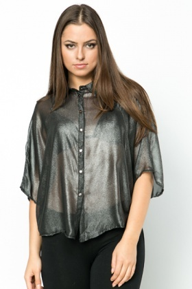 Cut-Out Back Metallic Batwing Blouse
