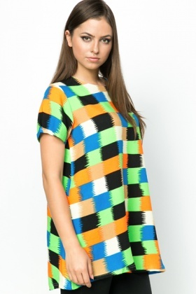 Multi Patchwork Print Tunic