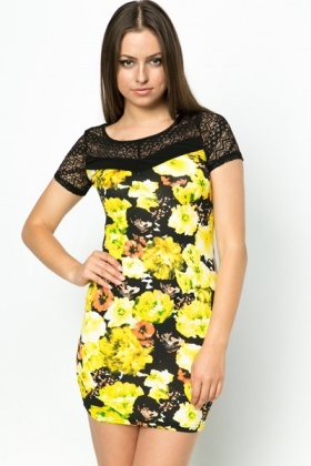 Lace Insert Flower Dress