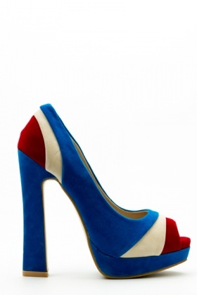 Colour Block Panel Peep Toe Shoes