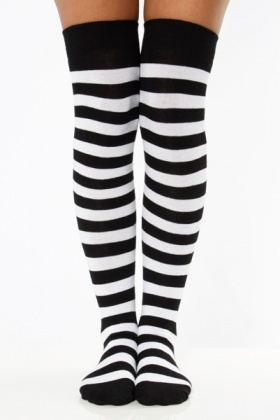Thick Stripes Over-The-Knee Socks