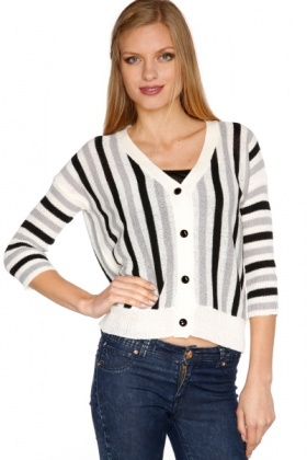 Vertical Stripes Sheer Knit Cardigan - Just £5