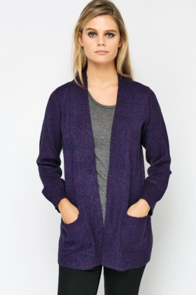 Speckle Knit Open Front Cardigan