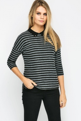 Stud Collar Knitted Stripe Pullover