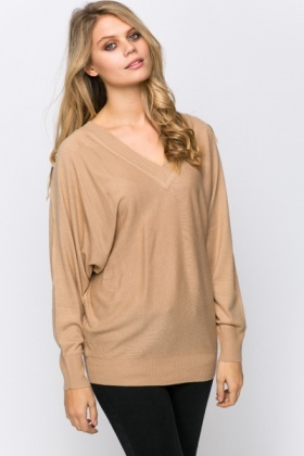 Tie-Up Back V-Neck Pullover