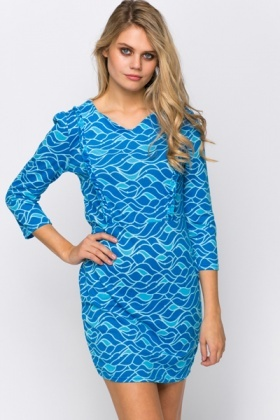 Wave Print Fleece Dress