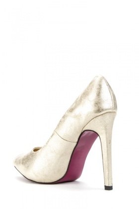 Diamante Side Metallic Court Shoes