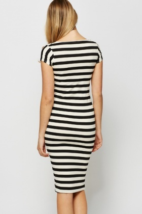 Stripe Bodycon Midi Dress