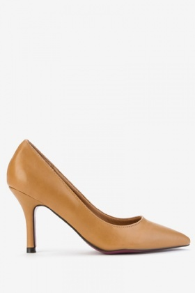 Pointed Toe Faux Leather Court Shoes