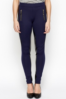 PU Trim Zipper Leggings